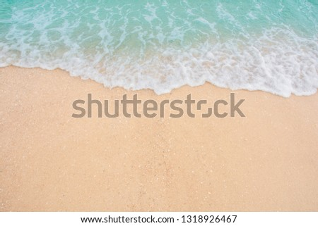 Soft wave of sea on empty sandy beach Background with copy space #1318926467