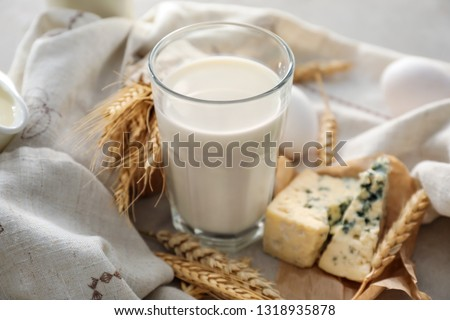 Glass of milk with cheese on grey table #1318935878