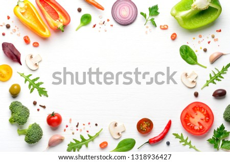 Ingredients and spices for homemade pizza on white wooden background. Top view . #1318936427