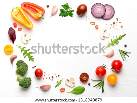 Vegan ingredients for homemade pizza on white wooden background. Top view . #1318940879