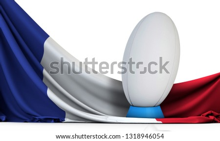 France flag with rugby sport ball. 3D Rendering #1318946054