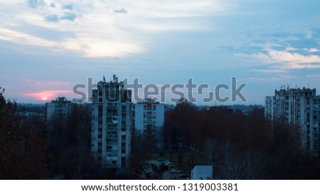 Osijek, Croatia - February 20, 2019: Street view. Sunset. City block Sjenjak. #1319003381