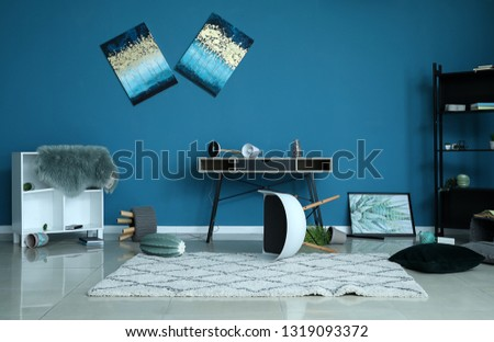 Interior of room after earthquake #1319093372