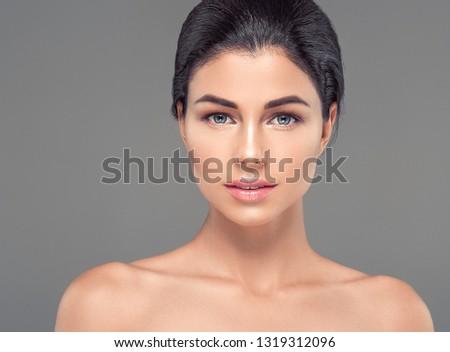 Healthy skin woman beautiful face beauty skin closeup cosmetic concept #1319312096