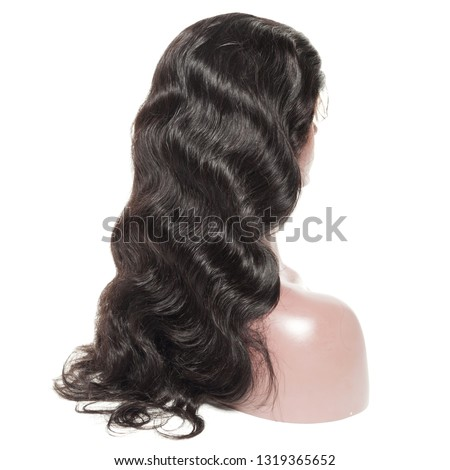 body wavy black human hair weaves extensions wigs Royalty-Free Stock Photo #1319365652