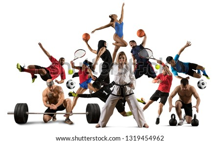 Huge multi sports collage taekwondo, tennis, soccer, basketball, football, bodybuilding, etc #1319454962