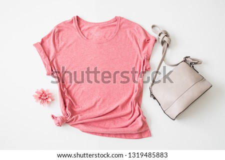 """Styled Stock Photography """"Heather"""", Mockup-Digital File, Pink Women's T-shirt with Purse and Flower Mock Up"""