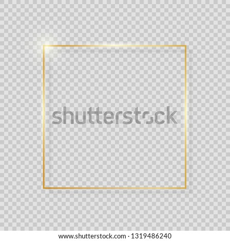 Gold Paint Glittering Textured Frame on Transparent Background. Vector Illustration EPS10 #1319486240