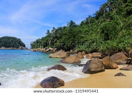 Ilha das couves, beach on island in Ubatuba, Sao Paulo - Brazil #1319495441