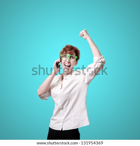business woman calling on phone on blue background #131954369