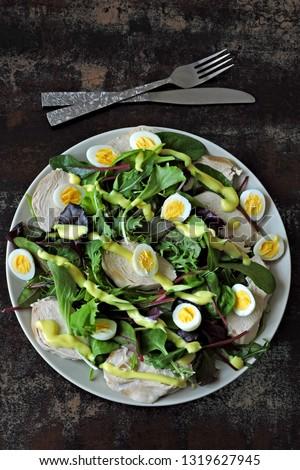 Healthy fresh salad with chicken breast, salad mix and quail eggs. Keto diet. Keto lunch Keto recipe idea. Paleo. #1319627945