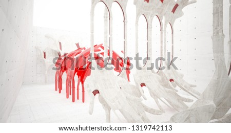 Abstract  concrete gothic interior with glass. 3D illustration and rendering. #1319742113