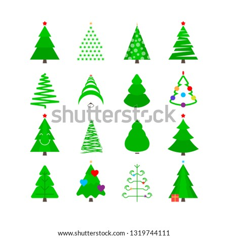 Green Christmas Tree Icon Set. Stylized Fir-trees of Different Shapes Isolated on White. #1319744111