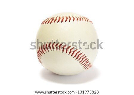 White baseball with red stitching isolated on white