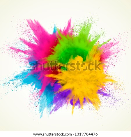 Colorful powder explosion effect on white background Royalty-Free Stock Photo #1319784476