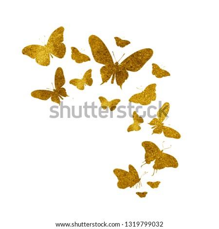 Flock of vintage butterflies on white #1319799032