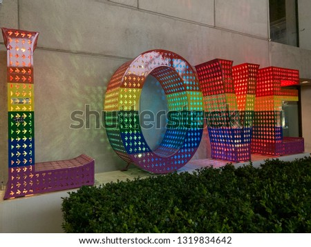 "SAN FRANCISCO, CA - February 19, 2019. ""Rainbow LOVE"" symbolizes ""Equality"" and was created by Laura Kimpton who is a California-based, American contemporary artist.  #1319834642"