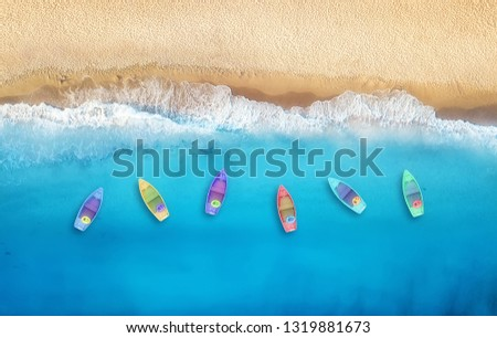 Boats from air. Aerial view on sea in Turkey. Summer seascape with clear water and sandy beach in sunny day. Top view of boats from drone. Summer seascape from air. Travel - image #1319881673