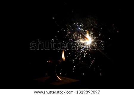 Diwali fireworks, Diwali, Christmas, Happy New Year celebrating with sparkler  #1319899097