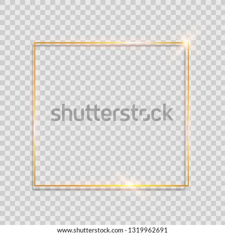 Gold shiny glowing vintage frame with shadows isolated on transparent background. Golden luxury realistic rectangle border. #1319962691