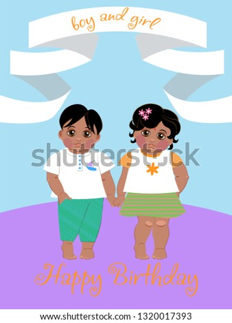 greeting card with the image of brother and sister, twins