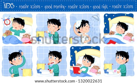 Daily routine actions of a little boy with dark hair - Good morning and good night - Set of eight lovely cartoon illustrations