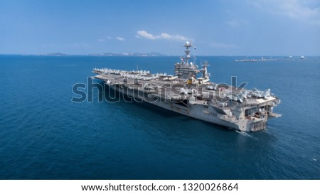 Nuclear ship, Military navy ship carrier full loading fighter jet aircraft for prepare troops USA VS Iran. #1320026864