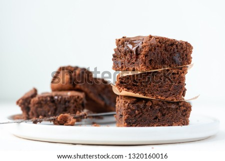Chocolate cake, brownie on a white background. #1320160016