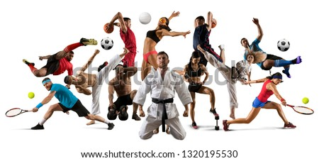 Huge multi sports collage taekwondo, volleyball, tennis, soccer, basketball, football, bodybuilding, etc #1320195530