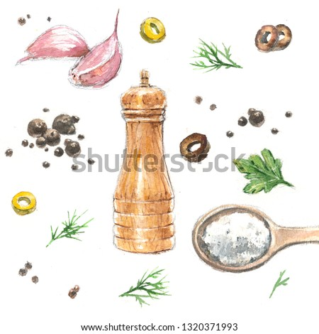 Set of watercolor illustrations of aromatic spices and spices.  #1320371993