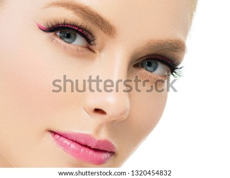 Beautiful healthy skin woman beauty face with lashes eyes and beautiful lips isolated on white #1320454832