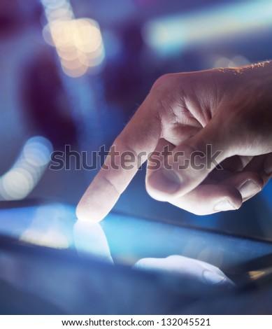 businessman holding digital tablet, closeup #132045521