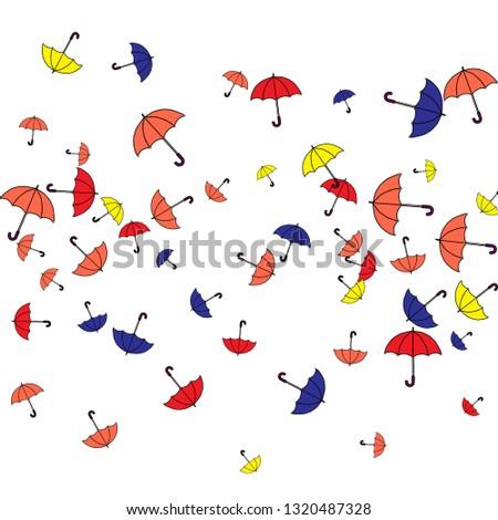 Pretty summer background with umbrellas. Umbrellas In Cartoon Free Style. Pattern Art Illustration Vector #1320487328