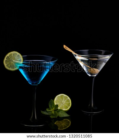 alcoholic drinks on black background #1320511085