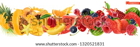 Sweet tropical fruits and mixed berries. Splash of juice. Watermelon, banana, pineapple, strawberry, orange, mango, blueberry, cherry, raspberry, papaya. 3d vector realistic, high quality 50mb eps #1320521831