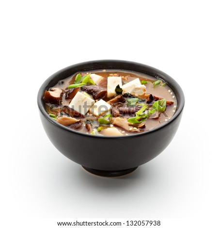 Japanese Cuisine - Miso Soup with Seaweed, Mushrooms and Tofu Cheese #132057938
