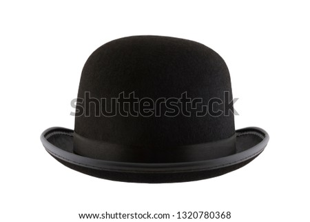 Black bowler hat isolated on white background #1320780368