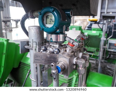 Pressure transmitter for apply  in industry zone at Combined-Cycle Co-Generation Power Plant. Royalty-Free Stock Photo #1320896960