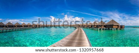 Panorama of Water Villas (Bungalows) at Tropical beach in the Maldives at summer day #1320957668