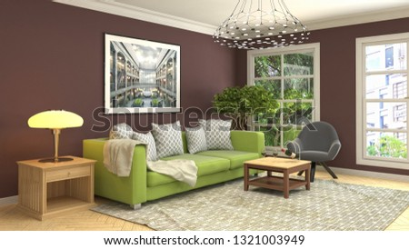 Interior of the living room. 3D illustration #1321003949