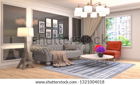 Interior of the living room. 3D illustration #1321004018