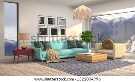 Interior of the living room. 3D illustration #1321004996