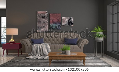 Interior of the living room. 3D illustration #1321009205