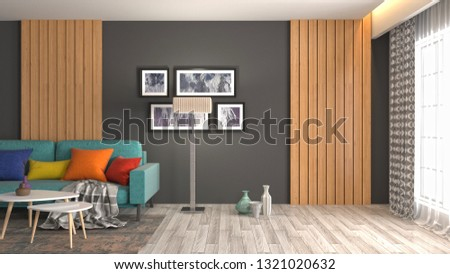 Interior of the living room. 3D illustration #1321020632