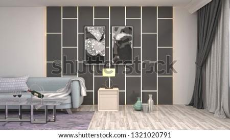 Interior of the living room. 3D illustration #1321020791