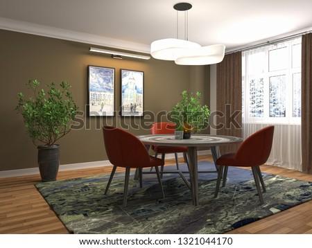 Interior dining area. 3d illustration #1321044170
