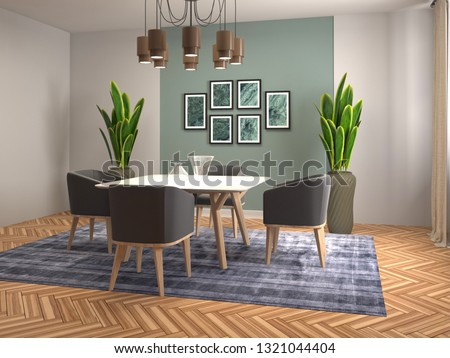 Interior dining area. 3d illustration #1321044404