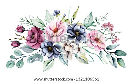 Watercolor pink, burgundy and indigo peonies. Floral summer flowers clip art. Arrangement perfectly for printing design on invitations, cards, wall art and other. Isolated on white. Hand painted.