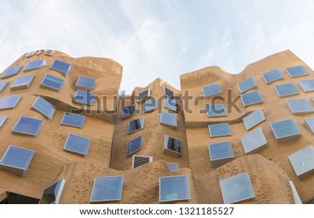 Sydney, Australia - August 10, 2018:  The Dr Chau Chak Wing building is part of the UTS Business School in Ultimo Sydney and was the first building in Australia designed by Frank Gehry. #1321185527