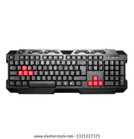 Gaming Keyboard Isolated on White. Black Standard Wired USB Computer Key Board. Typewriter Style Device. Top View and Side View Angle. Multifunction Keyboard with Set of Red Keys. Peripheral Device #1321227371